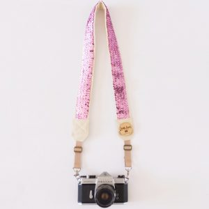 Pink sparkly camera strap for female photographers
