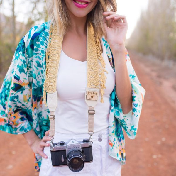 Camera Strap with gold fringe for female photographers
