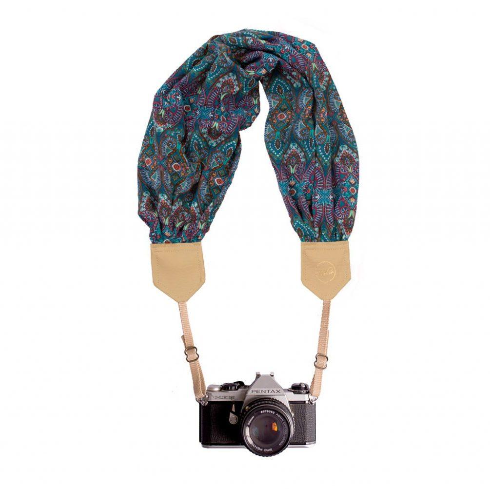 paisley scarf camera strap
